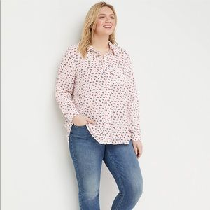 Lane Bryant strawberry casual button front shirt